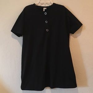 ASOS Black Button Front Short Sleeve A Line Dress